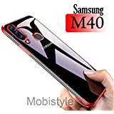 Mobistyle Samsung M40 Cover, Electroplating Soft Silicone Transparent TPU Back Case Cover for Samsung M40 (Red)
