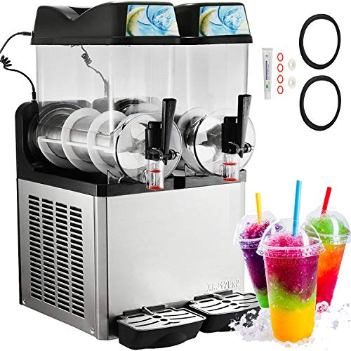 Happybuy Slushy Machine 110V Margarita Maker Frozen Drink Machine Commercial Smoothie Maker Slushy Making Machine Suitable for Commercial Use (12L x 2 Tank)