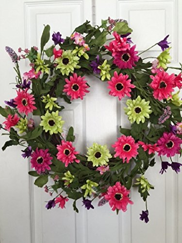Pink Stardust Silk Floral Wreath Front Door Indoor Seasonal Decor Spring ()