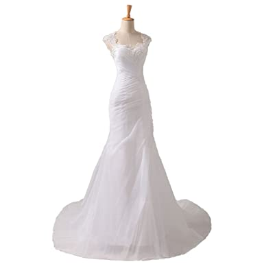 YIPEISHA Women\'s Bridal Gown Cap Sleeve Sweep Train Organza Mermaid ...