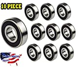Jeremywell 608-2RS Ball Bearing 8mm x 22mm x 7mm Rubber Sealed Deep Groove, Width Double Sealed (Pack of 10)
