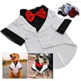 Pet Apparel Dog Cat Clothes Suit Tuxedo with Bow Wedding Suits Party Costumes for Small Middle Large Size Dogs (S, White)