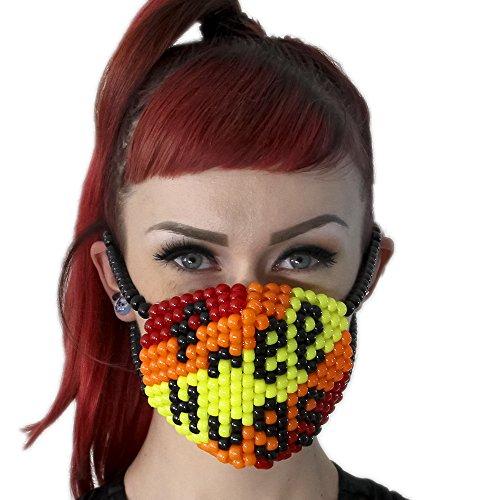 """Masque Chirurgical Kandi """"Free Hugs"""" - Kandi Gear, masque pour rave party, masque pour Halloween, masque de perle pour festivals de musique et fêtes"""