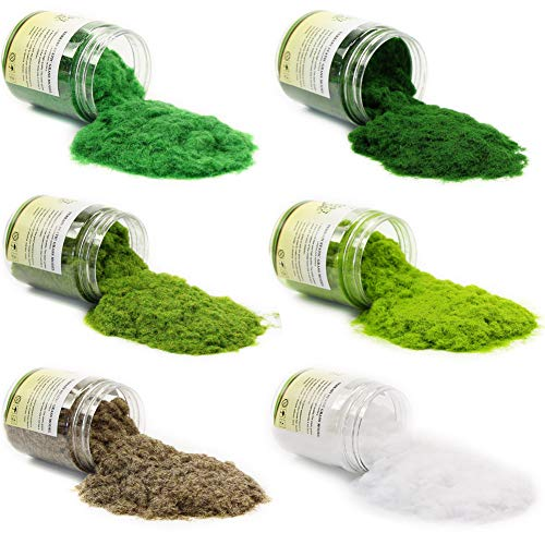 CFA5 6X 35g Mixed 2mm Static Grass Terrain Powder Green Fake Grass Fairy Garden Miniatures Landscape Artificial Sand Table Model Railway Layout