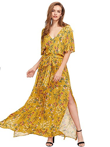 Print Tie Waist Dress - Milumia Women's Boho Split Tie-Waist Vintage Print Maxi Dress (XX-Large, Yellow-1)