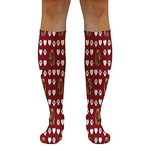 Funny Knee High Socks Sussex Spaniel Dog Red Paw Heart Tube Women & Men 1 Size 37