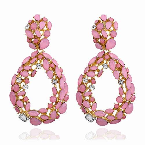 Niceer 2019 New Statement Water Drop Hollow Earring Trendy Jewelry Elegant Long Shiny Crystal Earrings for Women Gift,Drop Pink