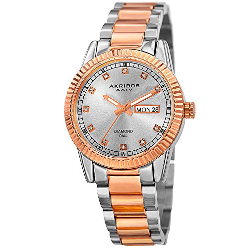 Akribos XXIV Women's Quartz Stainless Steel Casual Watch, Color:Two Tone (Model: AK965TTR)