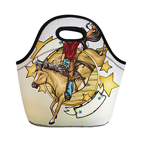 Semtomn Neoprene Lunch Tote Bag Bucking Rodeo Cowboy Riding Horse Label Text Old Tavern Reusable Cooler Bags Insulated Thermal Picnic Handbag for Travel,School,Outdoors, ()