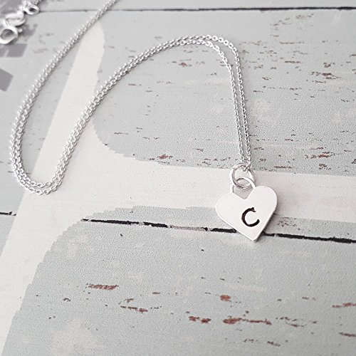 Personalized Sterling Silver Heart Letter C Initial Necklace