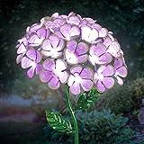 Exhart Hydrangea Garden Stake, 26 LED Lights, Solar Powered, Metal, Purple, 7'' L x 7'' W x 21'' H