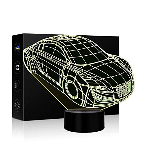 3D Night Lights for Kids, Illusion Lamp Smart Touch 7 Colors Changing Table Desk Bedroom Deco Optical Illusion Lamps As a Gift Ideas for Boys or Girls (Truck Car) ()