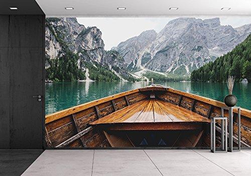 Boat Cruising a Mountain Lake