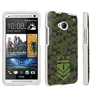 DuroCase ? HTC One M7 Hard Case White - (Army Camo Monogram I)