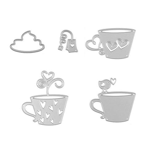 Juego de 5 moldes de metal para té, taza de café, troquelado, para