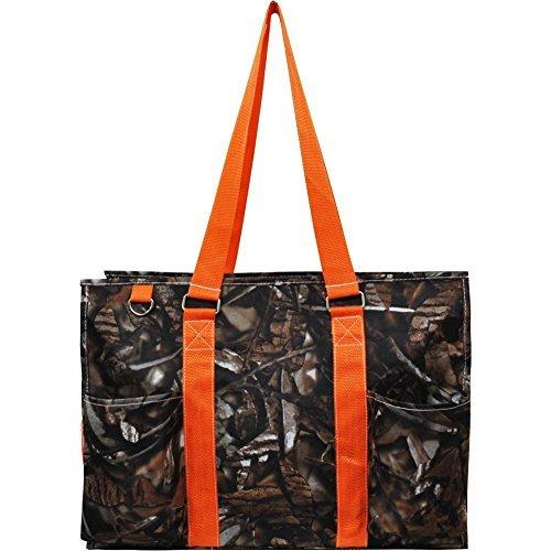 N. Gil All Purpose Organizer 18'' Large Utility Tote Bag 2 (Natural Camo Orange) by N.Gil