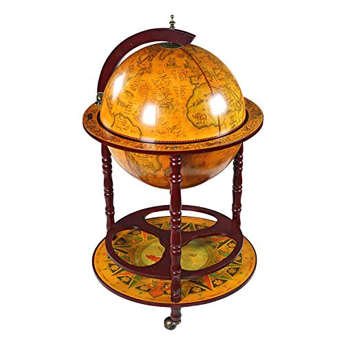 TheBestUSA Wood Globe Wine Bar Stand 16th Century Italian Rack Liquor Bottle Shelf with Wheels Color Retro Brown 38 Inches Replica Globe Bar Cart Cabinet on Wheels Durable and Heavy Duty