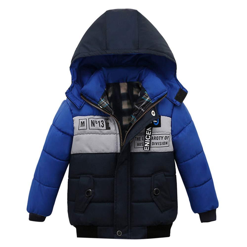Vovotrade New Children Winter Warm Hooded Coats Jacket Printed Zipper Thick Outerwear(Dark Blue,110)