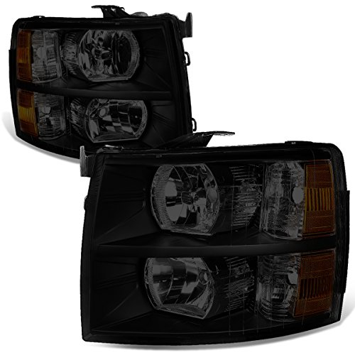 For 07-14 Chevy Silverado Pair Black Housing Smoked Lens Amber Corner Headlight/Lamps