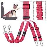 Slowton Cinturón de seguridad para perros, cinturones para mascotas coche cinturón ajustable con doble uso elástico bungee cinturón de seguridad en vehículo de coche para pequeños medio perros grandes viaje en coche y caminar, Regalo de Navidad (Rosa)