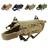 EJG Tactical Dog Harness Vest, with Molle System & Velcro Area, No Pulling Design, Comfy Mesh Padding, for Service Dogs, Military Training Hunting Hiking, for Medium Large Dogs (Medium, CP)