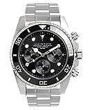 MASTER WATCH Men's Diver's 200M Quartz Stainless Chrono Calendar Black Watch