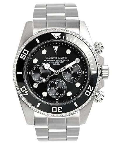 MASTER WATCH Men's Diver's 200M Quartz Stainless Chrono Calendar Black Watch by MASTER WATCH