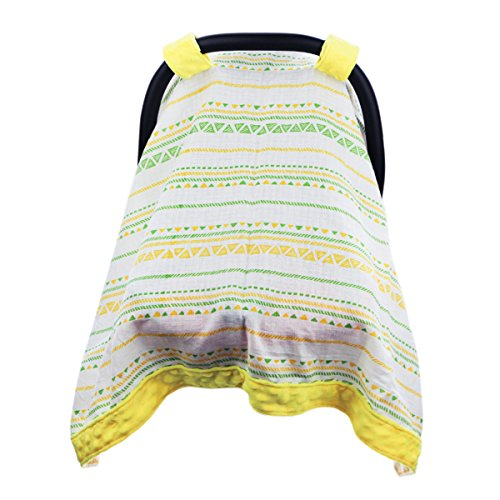 Hi Sprout Breathable Cotton Muslin Canopy Car Seat Cover, Windproof Minky Dot Embellishment, for Girls and Boys (Colorful Wave)