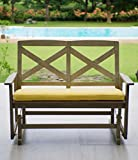 Cambridge-Casual 130825YEL West Lake 4' Glider Bench with Seat Pad, Weathered Grey With Yellow