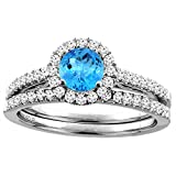 14K White Gold Diamond Natural Swiss Blue Topaz Halo Engagement Bridal Ring Set Round 6 mm, sizes 5-10