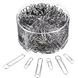 Shappy Paper Clips Medium and Jumbo Size, 450 Pieces (28 mm, 50 mm) (Silver)