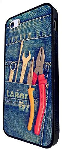 1466 - Cool Fun Trendy Men'S Tools Diy Builders Design iphone SE - 2016 Coque Fashion Trend Case Coque Protection Cover plastique et métal - Noir