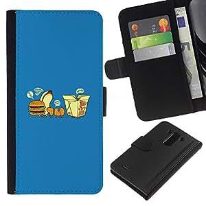 KLONGSHOP // Tirón de la caja Cartera de cuero con ranuras para tarjetas - Comida rápida desfile divertido - LG G3 //