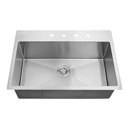 Glacier Bay All-in-One Drop-in Stainless Steel 32 in. 4-Hole ...