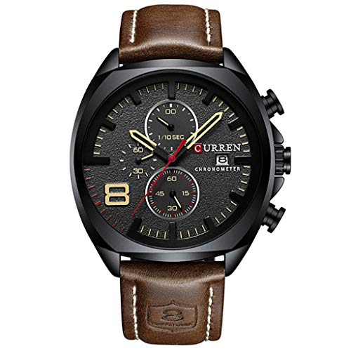 WUAI New Men's Fashion Casual Business Watches Large Dial Leather Band Chronograph Watch