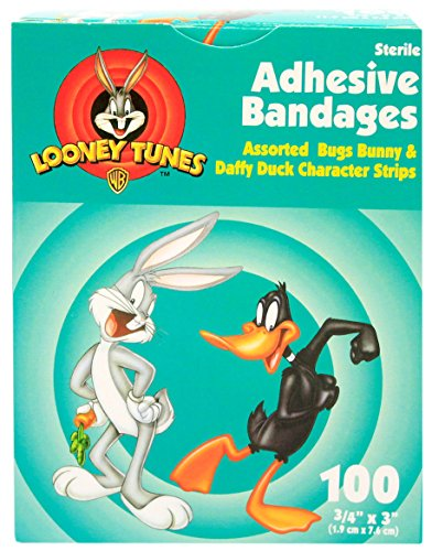 childrens-adhesive-bandages-bugz-bunny-and-daffy-duck-box-of-100