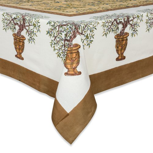Gold Olive (Couleur Nature Olive Tree Tablecloth, 59-inches by 86-inches, Gold/Blue)