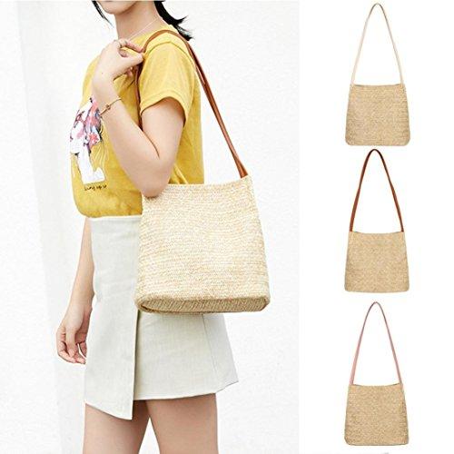 Bag Straw Bag Women Beige Fashion Casual Shoulder Woven ❥Tefamore Handbag Bags Bucket TwUqI4x