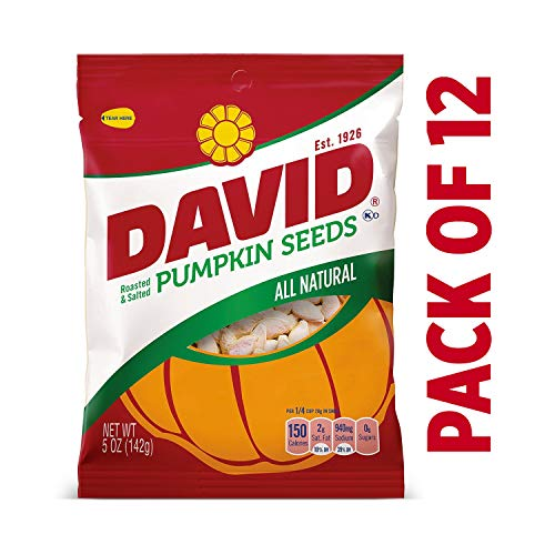 DAVID Roasted and Salted Pumpkin Seeds, 5 oz, 12 Pack ()