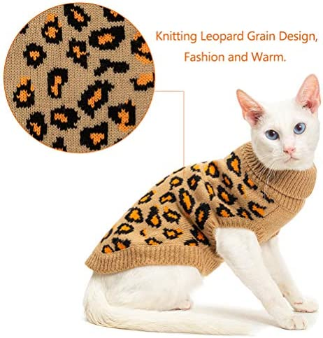 Mihachi Winter Leopard Warm Cat Sweater Fashion Knit Vest for Cats Puppy Small Animals Brown 22