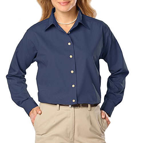 - Blue Generation BG6216 - Ladies' Long Sleeve Stain Release Poplin (3XL, Navy)