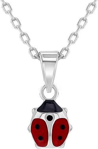 Enamel /& CZ Ladybug Necklace Pendant Genuine Sterling Silver 925 40cm Necklace