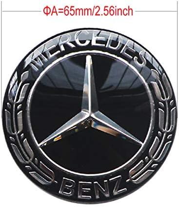 MonboAuto エンブレムバッジステッカー ホイールハブキャップ センターカバー メルセデスベンツ用 4個セット 65MM( 2.56inches) ブラック STB-03