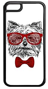 4 Hipster Puppy-Shades and Red Bow Tie- Case for the APPLE iPhone 6 4.7, 6 4.7-Hard Black Plastic Outer Case with Tough Black Rubber Lining