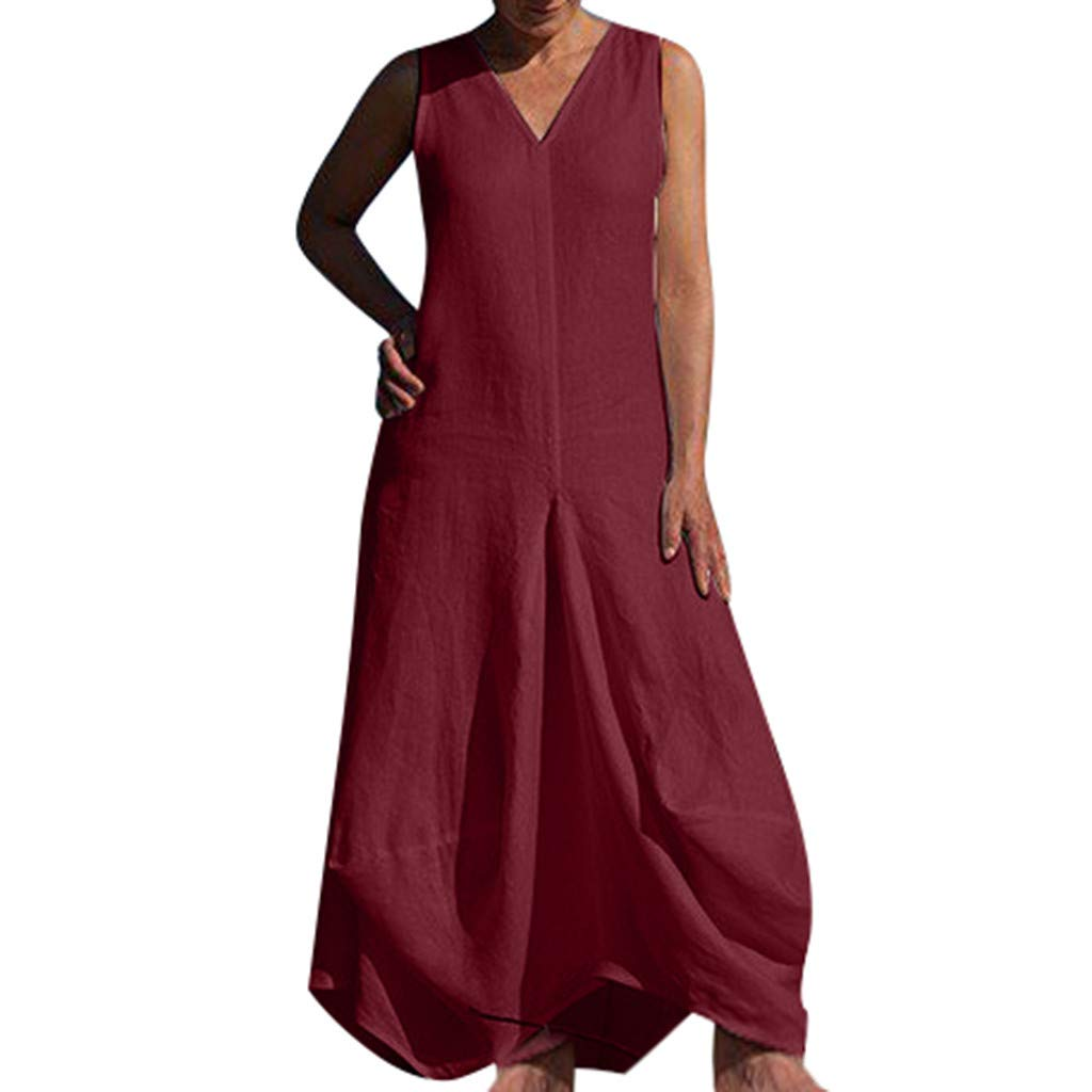 Women Deep V-Neck Sleeveless Maxi Dress ❤Summer Casual Solid Color Pleated Loose Long Beach Dresses (X-Large, Red)