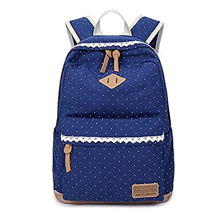 Casual Canvas Style Backpack Lightweight Student Bags for Teens Girls Laptop Fashion Rucksack Outdoor Travel Daypack (light blue) LangYang