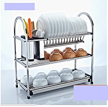 3 Tier Layers Stainless Steel Dish Plate Cutlery Crockery Rack Kitchen  Organizer Drainer Holder Drip Tray