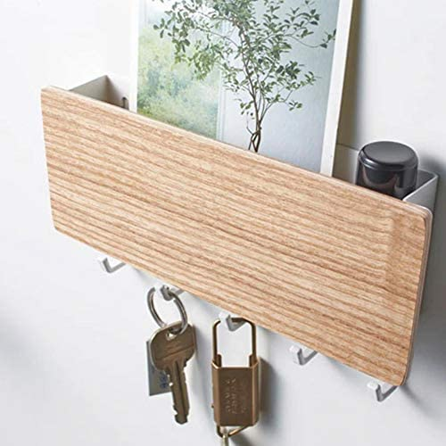 Prosperveil Briefhalter Wandmontage Holz Schl/üsselhalter mit 5 magnetischen Schl/üsselhaken Briefablage Organizer Schl/üsselhalter f/ür Wand Haus Flur Dunkelbraun