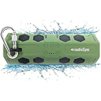 AudioSync Bluetooth Speaker Waterproof Portable with LED Flashlight and Micro SD slot, Super BASS