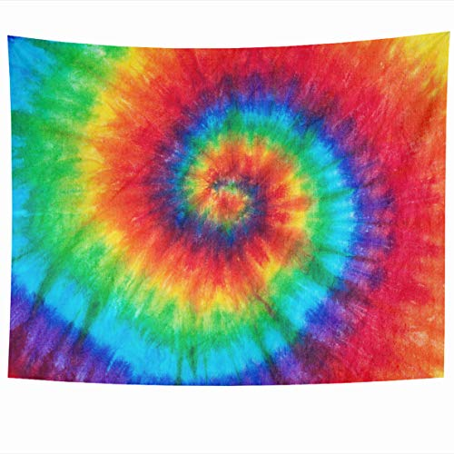 Ahawoso Tapestry 60x50 Inches Blush Rainbow Spiral Tie Dye Color Dyed Batik Closeup Peace Hippie Wall Hanging Home Decor Tapestries for Living Room Bedroom - Wall Tie Dye Tapestries